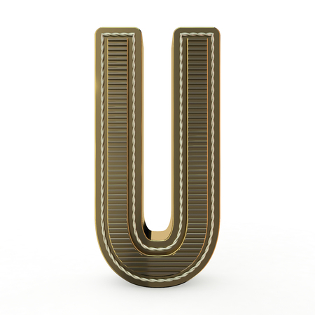 Símbolo dorado del alfabeto. Carta. Representación 3D Foto de archivo