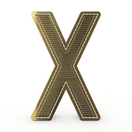 Símbolo dorado del alfabeto. Letra. Representación 3D
