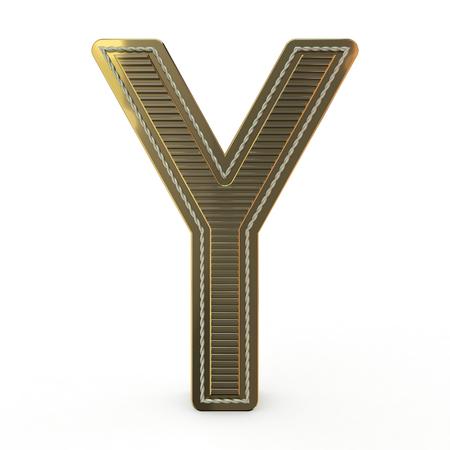 Golden symbol of the alphabet. Letter. 3D rendering