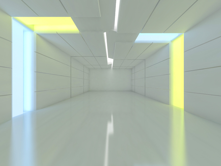 Abstract modern architecture background, empty open space interior. 3D rendering 版權商用圖片