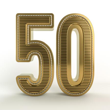 Gold symbol of the discount in figures. 3D rendering