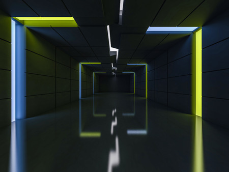 Background of an empty room with walls and neon light. Neon rays and glow. 3D rendering