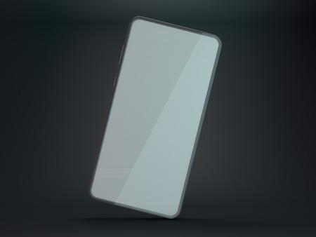 Black smartphone mockup on dark background. 3D rendering 版權商用圖片