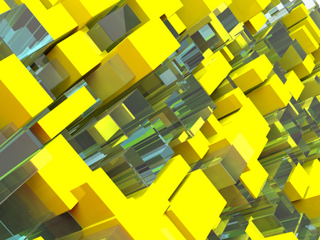 Abstract futuristic technological background with squares. 3D rendering Stock Photo
