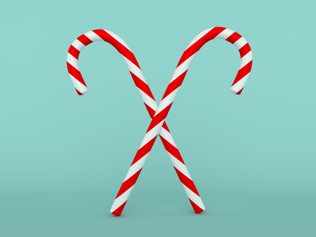 Christmas sweet candy cane isolated over the background. 3D rendering