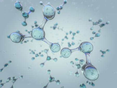 Abbildung des Molekülmodells. Wissenschaft, medizinischer Hintergrund mit Molekülen und Atomen. 3D-Rendering Standard-Bild