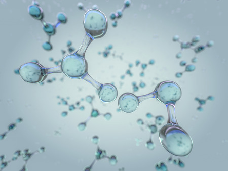 Illustration of molecule model. Science, medical background with molecules and atoms. 3D rendering Foto de archivo