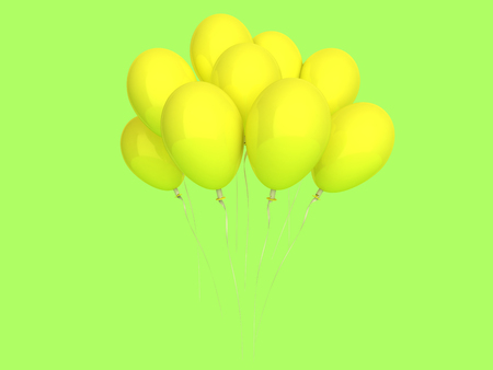 Happy holiday air flying balloon isolated on background. 3D rendering