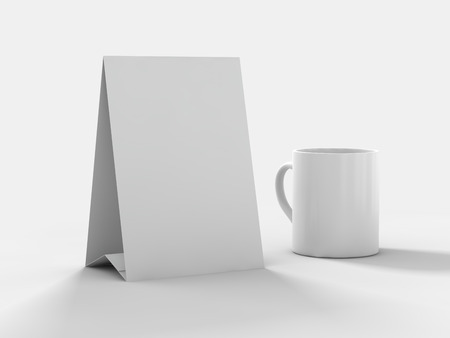 Mock up menu frame or calendar on table. 3D rendering Stock Photo
