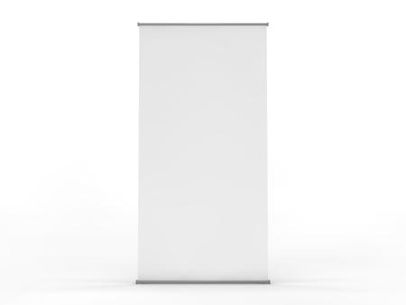 Blank roll up banner display. Template mockup. 3D rendering Imagens