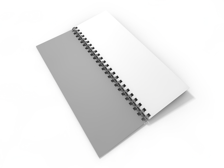 Blank notebook on white background. 3D rendering