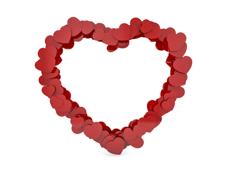 Heart shaped glossy plastic frame isolated on white. 3D rendering