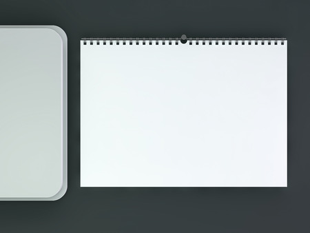 Blank wall calendar with spring. 3D rendering