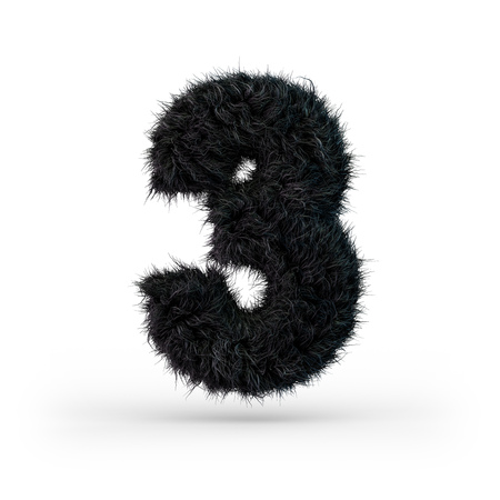 Uppercase fluffy and furry black font. Digit three. 3D rendering