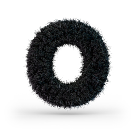 Uppercase fluffy and furry black font. Letter O. 3D rendering Imagens