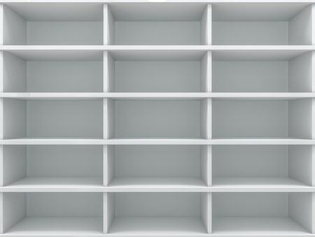 White empty closet. A cupboard with shelves. 3D rendering