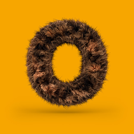 Uppercase fluffy and furry font made of fur texture for poster printing, branding, advertising. Letter O. 3D rendering