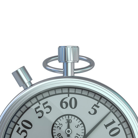 Analogue metal stopwatch on the white background. 3D rendering