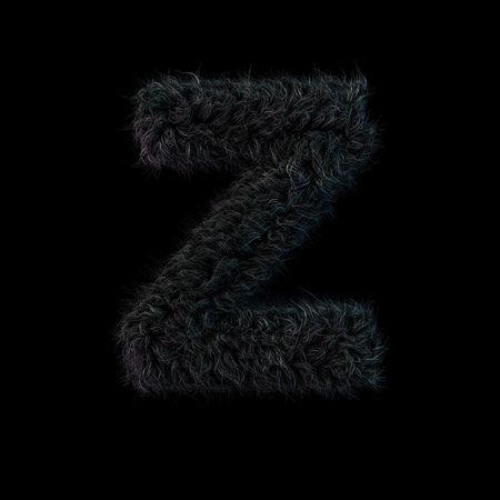 Uppercase fluffy and furry black font. Letter Z. 3D rendering