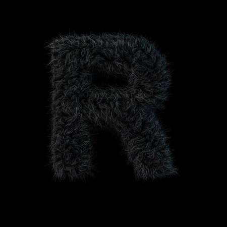 Uppercase fluffy and furry black font. Letter R. 3D rendering