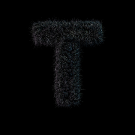 Uppercase fluffy and furry black font. Letter T. 3D rendering