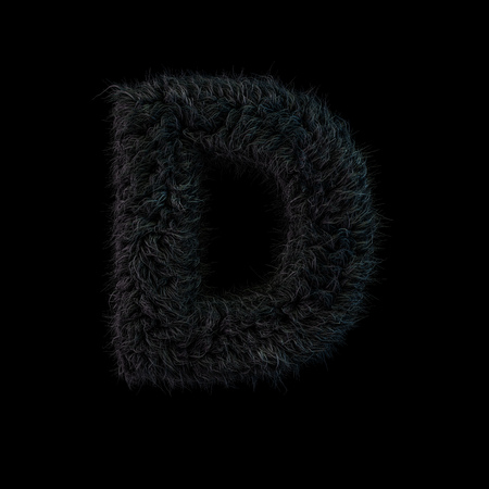 Uppercase fluffy and furry black font. Letter D. 3D rendering