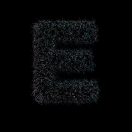 Uppercase fluffy and furry black font. Letter E. 3D rendering