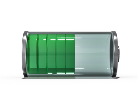 Battery icon with green charge indicator. 3D rendering
