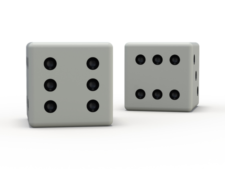 White playing dice isolated on white background. 3D rendering