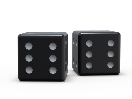 Black playing dice isolated on white background. 3D rendering Stok Fotoğraf