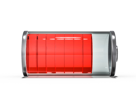 Battery icon with red charge indicator. 3D rendering Imagens