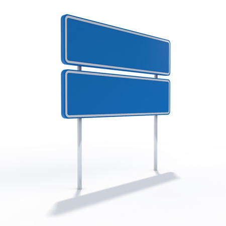 Blank blue road sign or Empty traffic signs. 3D rendering