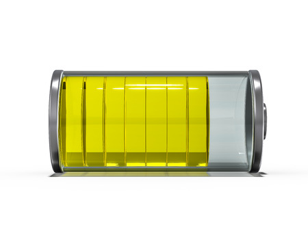Battery icon with yellow charge indicator. 3D rendering