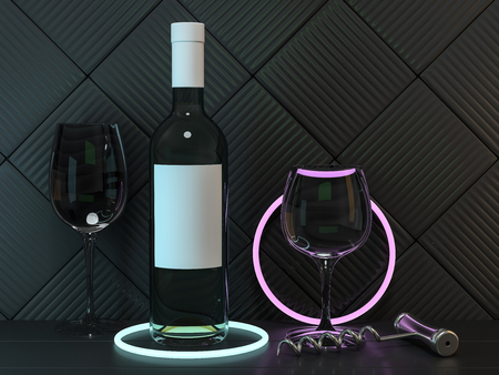 Wine Bottle Mockup. Blank Label. 3D rendering