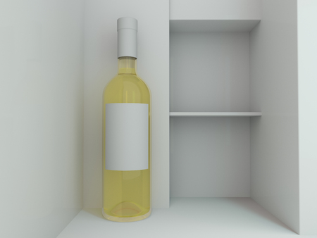 Wine Bottle Mockup. Blank Label. 3D rendering Stock Photo