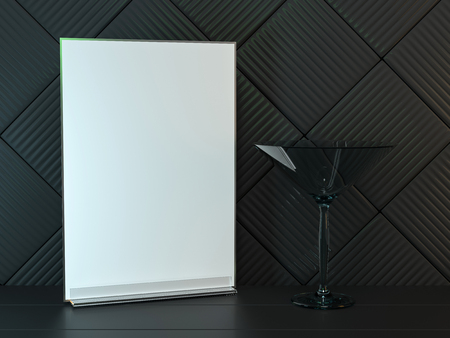 Stand for booklets with white sheets of paper. Mockup. 3D rendering