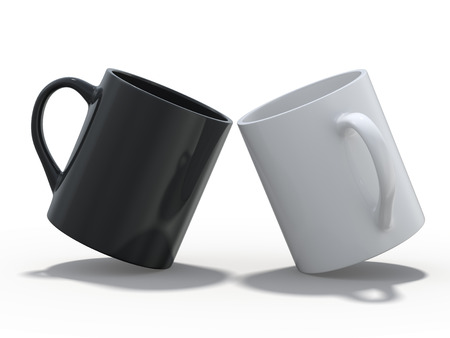 Black and white mugs Mockup standing on the surface. 3D rendering Imagens