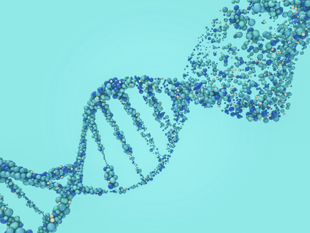 DNA chain. Abstract scientific background. Beautiful illustraion. Biotechnology, biochemistry, genetics and medicine concept .3D rendering Stock Photo