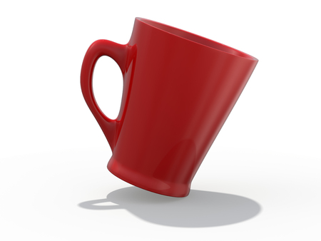 Red mug Mockup standing on the surface. 3D rendering