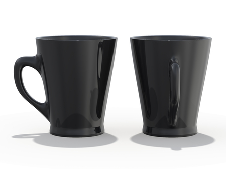 Black mug Mockup standing on the surface. 3D rendering
