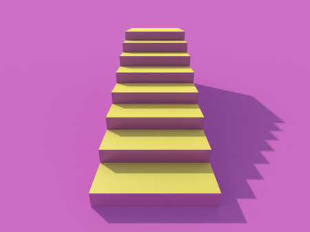 Rising arrow on staircase, increasing business. 3D rendering