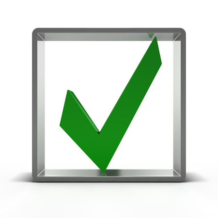 Green check mark icon. Point. 3D rendering