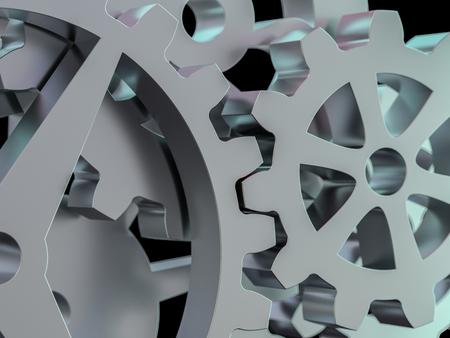 A cluster of interlocking metal gears. 3D rendering