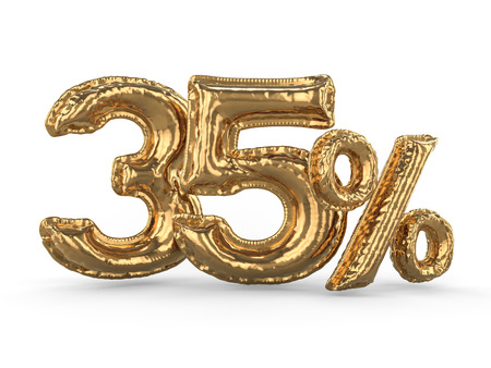 Golden thirty five percent made of inflatable balloons. Percent set. 3D rendering