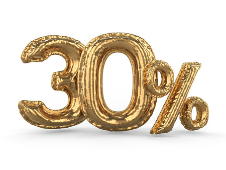 Golden thirty percent made of inflatable balloons. Percent set. 3D rendering