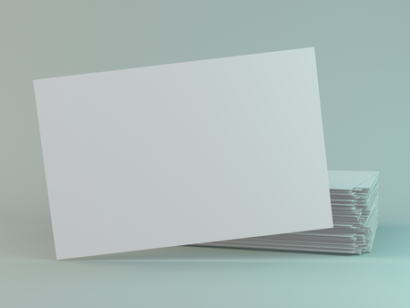 Blank business cards. Mock-up for branding identity. 3D rendering
