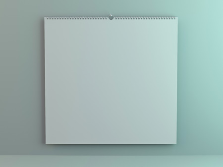 Blank design square calendar template with soft shadows. 3D rendering 스톡 콘텐츠