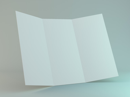 White template leaflet on gray background. Mockup. 3D rendering Stockfoto