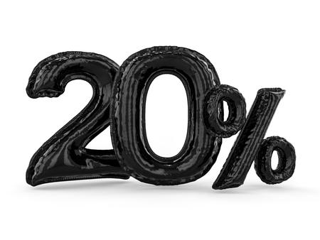Black twenty percent made of inflatable balloons. Percent set. 3D rendering