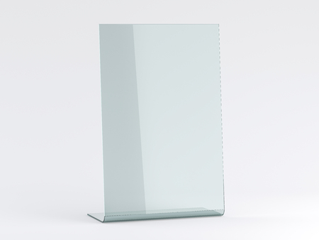 Glass stand for booklets on white background. Mockup. 3D rendering